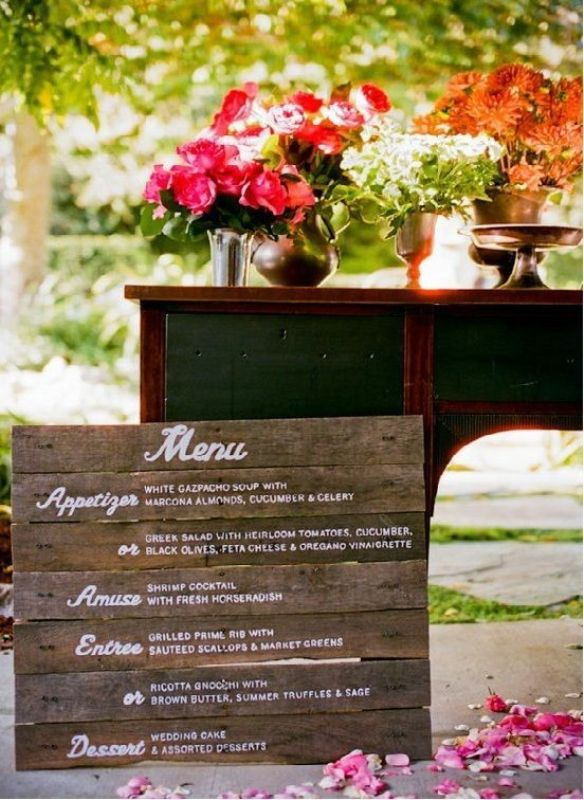 a stained wood menu is ideal for a rustic wedding and you can easily make one yourself