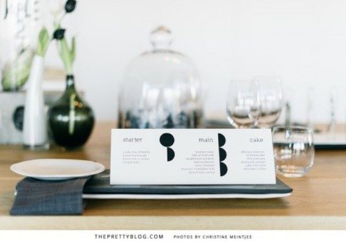 a minimalist black and white wedding menu is chic for a modern or minimalist