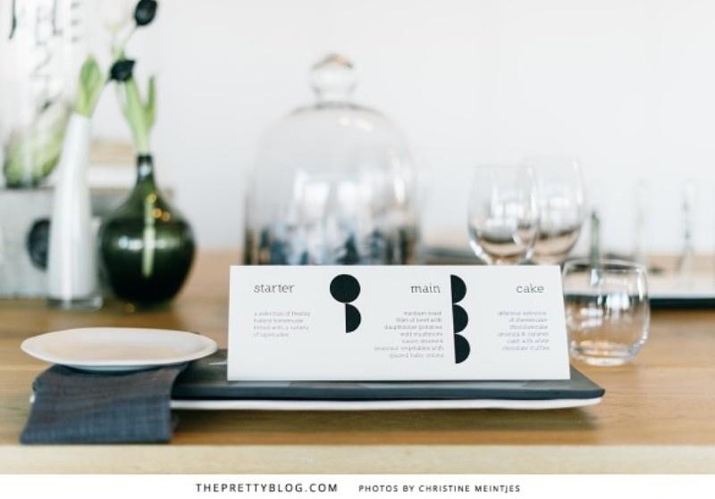 a minimalist black and white wedding menu is chic for a modern or minimalist