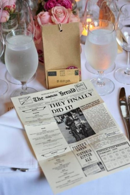 a wedding program and menu designed as a newspaper is a super fun idea with a touch of retro