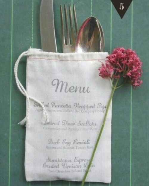 a fabric bag with a printed menu and cutlery inside is a cozy and cute idea