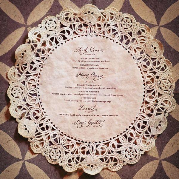 a doily wedding menu is a stylish idea for a vintage or a rustic wedding