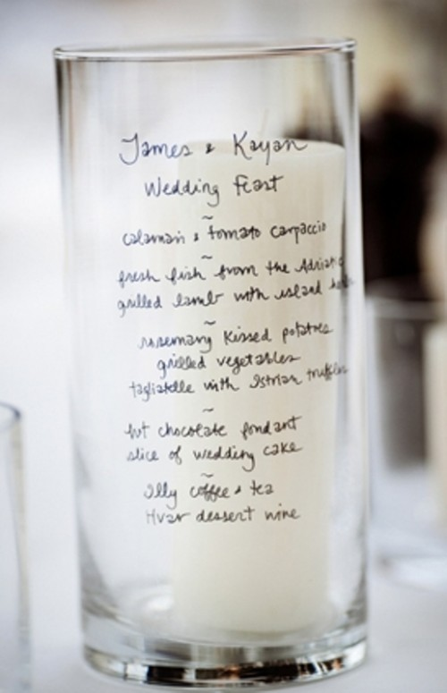 write your wedding menu right on the glass candleholders to make them cooler
