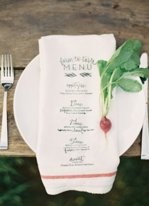 a napkin with a menu printed on it is a very creative and rustic idea to go for