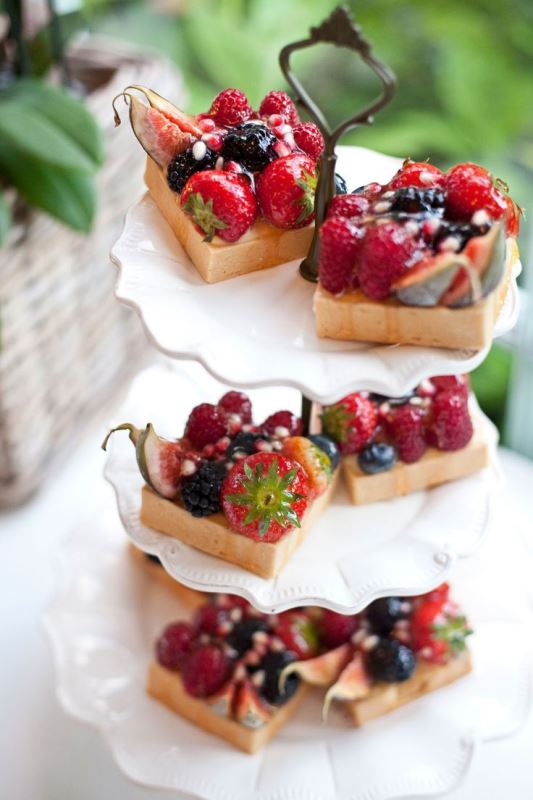 mini cakes with custard, fresh blackberries, strawberries, raspberries and figs are delicious and decadent