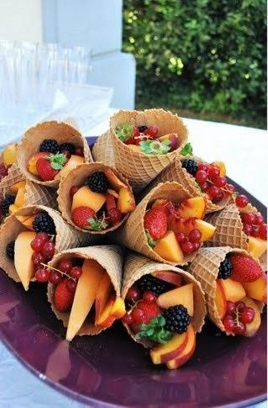 waffle cones filled with fresh fruit and berries are amazing instead of ice cream and much more healthy