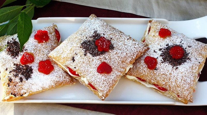 sandwiches with whipped cream and berries topped with berries are adorable for spring and summer