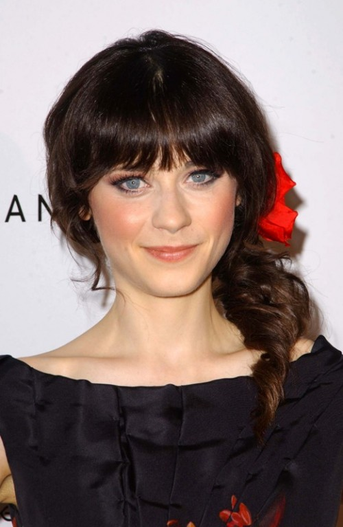 a side wavy hairstyle with full fringe bangs is a cool idea with a retro feel