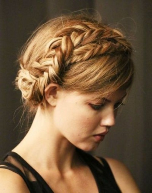 an updo with a double braid on top plus side bangs is a stylish idea with a rustic feel