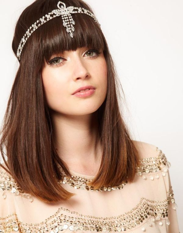 medium length straight hair down plus a sparkling boho headpiece is a nice idea for a boho bride