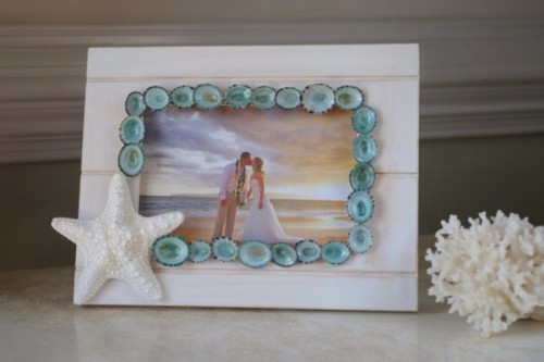your photo in a beach frame decorated with starfish and little blue shells plus corals