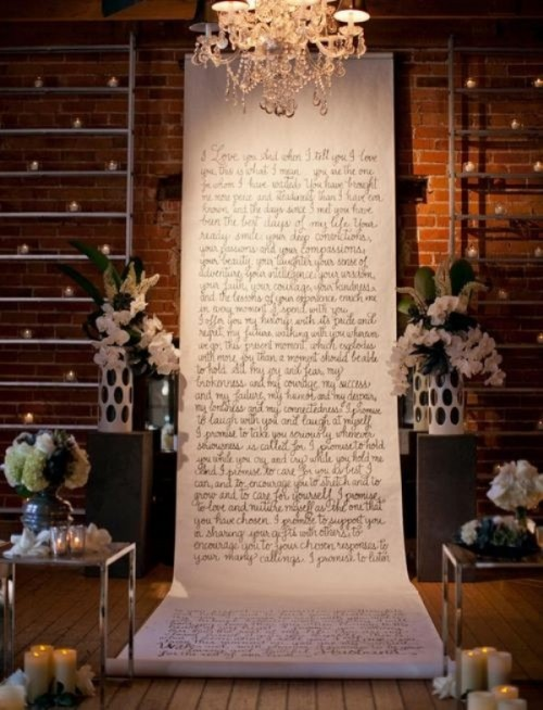 a romantic wedding backdrop with your favorite quotes, rhymes or books is a very meaningful idea that brings true romance