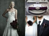 a deep purple calla wedding bouquet and a matching groom's boutonniere