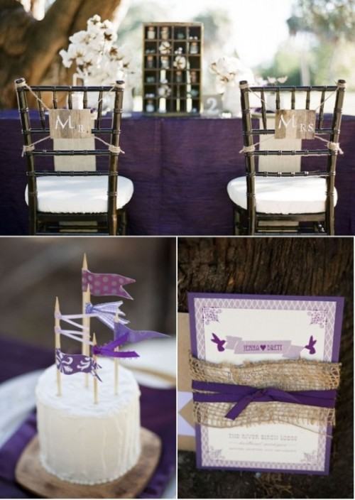 a purple tablecloth, a purple invitation and a cake topper