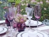 purple glasses, purple vases and purple callas for a bright and unique tablescape