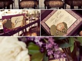 purple chairs, florals and invitations for elegant and refined wedding decor