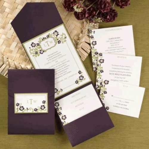 refined deep purple wedding stationery with floral patterns