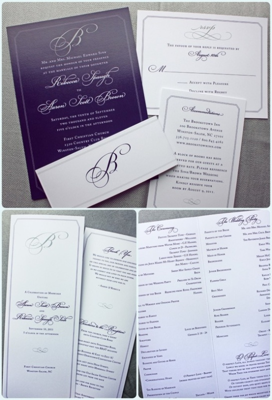 elegant purple and white wedding stationery with calligraphy is a stylish idea
