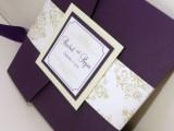 elegant deep purple wedding stationery with floral prints