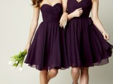 strapless purple knee bridesmaid dresses for a fall or winter wedding