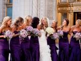strapless maxi mermaid bridesmaid dresses and lilac bridesmaid bouquets