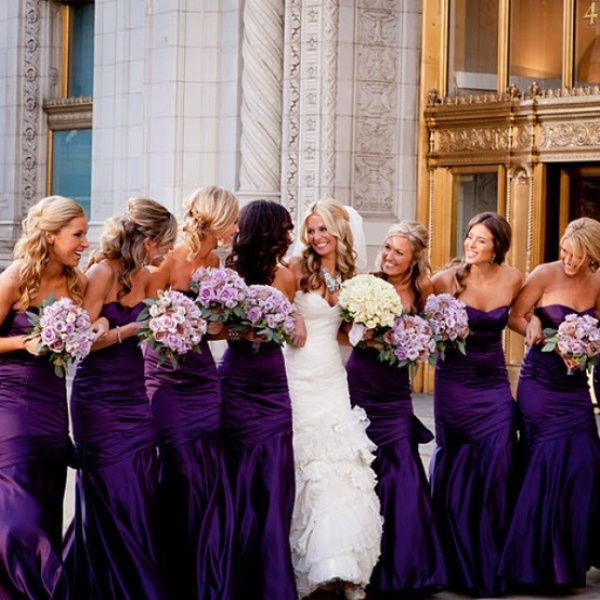 strapless maxi mermaid bridesmaid dresses and lilac bridesmaid bouquets