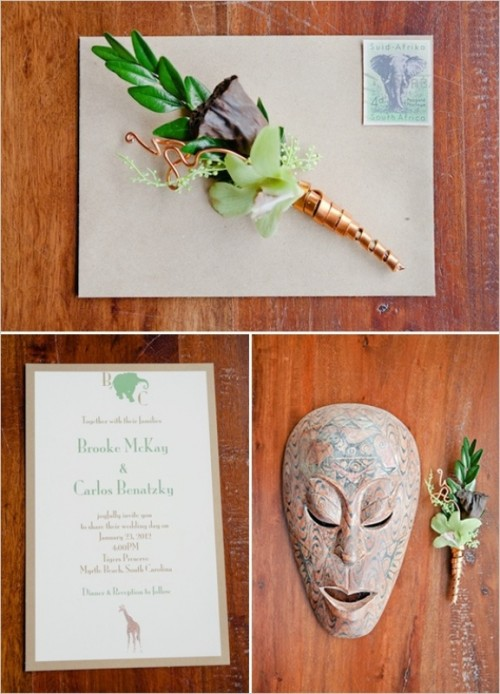 a wedding invitation suite with an elephant stamp and a painted mask is a creative idea for a safari wedding
