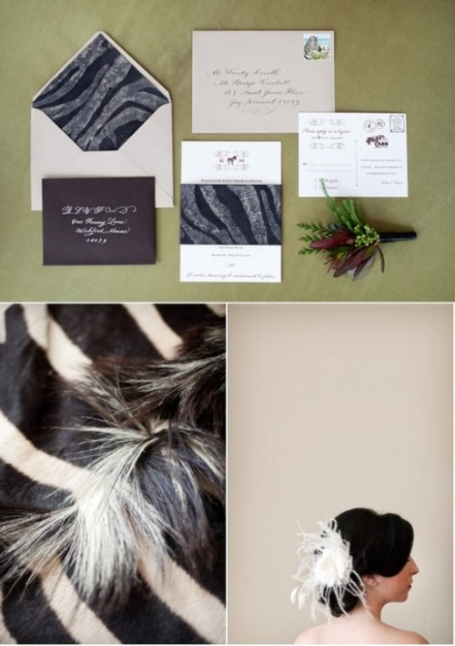 a bright safari themed wedding invitation suite with zebra prints and a brown envelope is a very bold and cool idea