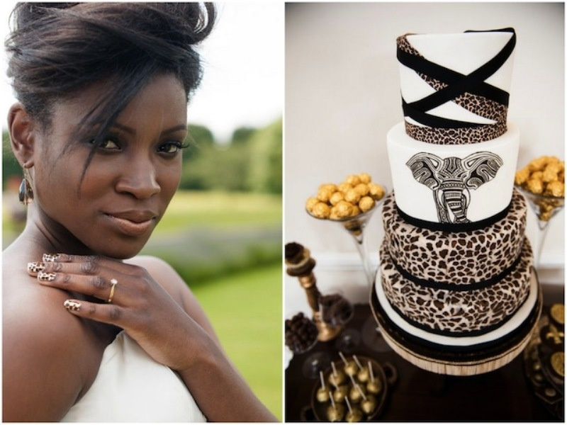 leopard print nails and a creative safari wedding cake with leopard tiers and an elephant one