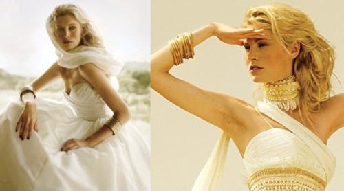 statement gold accessories - a choker, a sash and stacked bracelets is a lovely idea