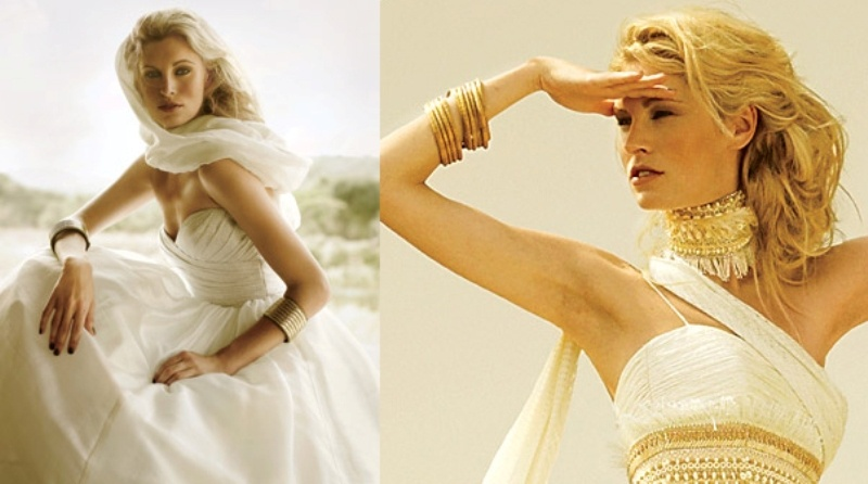 statement gold accessories   a choker, a sash and stacked bracelets is a lovely idea