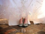 zebra printed wedding shoes is a bold and catchy idea to make your look unique