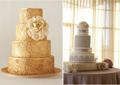 a gold lace wedding cake and a grey and white lace wedding cake with blooms are cool and elegant