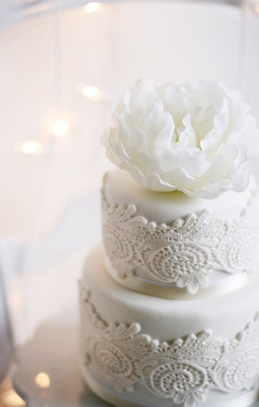 an elegant and chic white lace wedding cake topped with a single fresh white bloom is an amazing idea