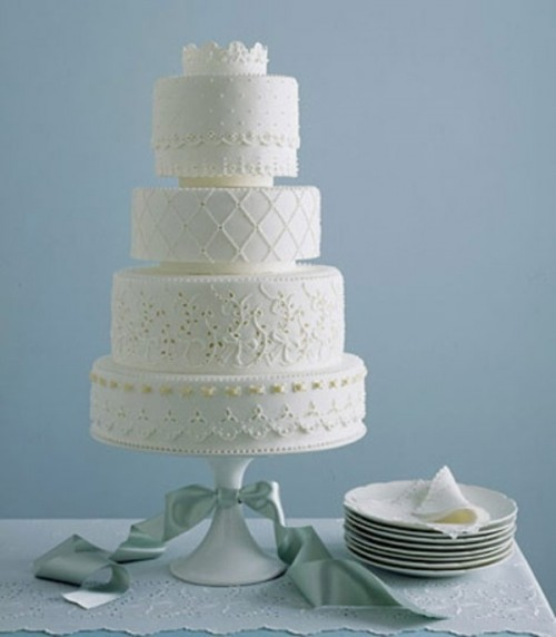 a white lace wedding cake with floral or botanical decor is a stylish idea with an elegant feel