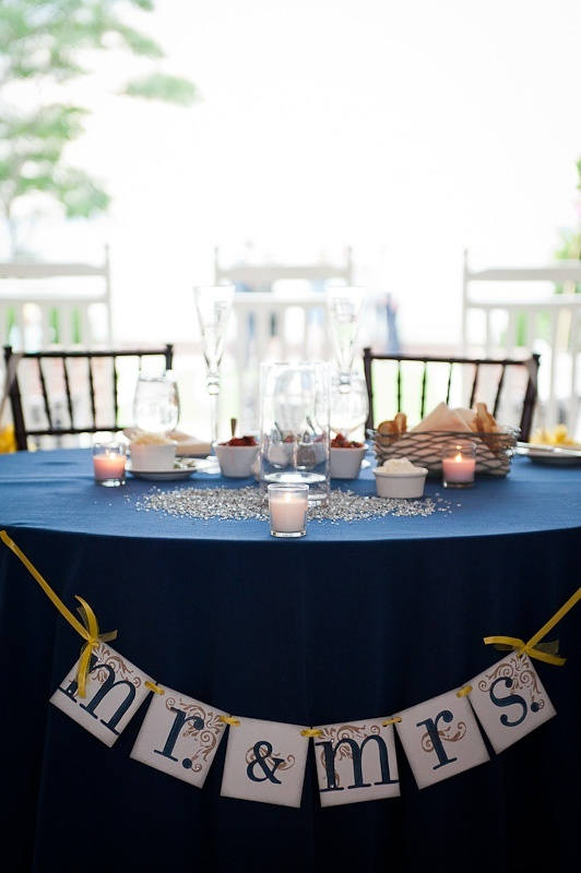 a bunting with letters, candles and sparkling beads right on the table accent it and make it stand out