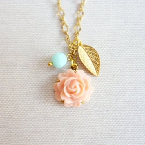 a coral rose, a gold leaf and a mint bead for a cute wedding necklace or as a bridesmaid gift