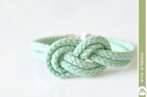 a mint rope knot bracelet can be worn at a seaside or coastal wedding