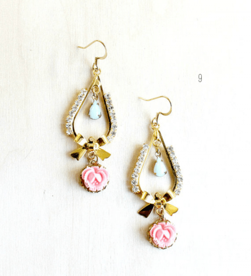 a whimsical wedding earrings of gold, with pink blooms and mint drops for a chic and romantic bridal look