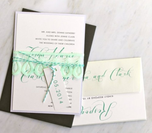 a modern wedding invitation suite with touches of mint is a stylish idea for a modern wedding
