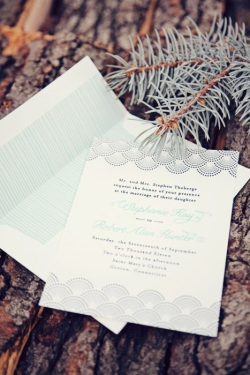 a stylish mint-colored wedding invitation suite with patterns and calligraphy is a romantic and cool idea