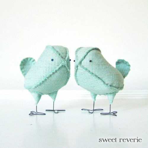 mint-colored fabric birds can be wedding cake toppers or decor for your mint-colored wedding