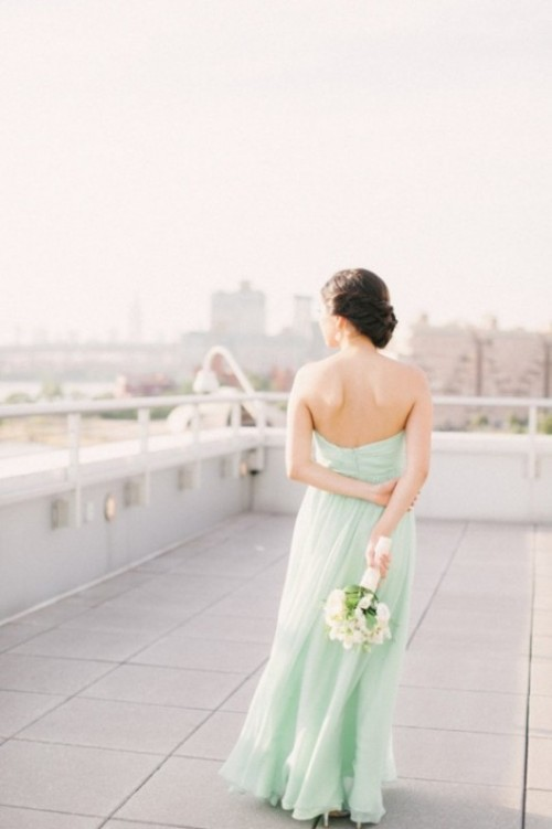 a strapless A-line mint-colored wedding dress is a nice idea for a non-traditional bride or a bridesmaid option