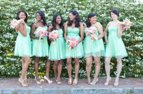 strapless mini A-line mint-colored bridesmaid dresses with mismatching shoes are nice and romantic
