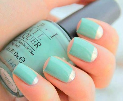 a mint and silver wedding manicure is a cool and bold idea for a modern wedding