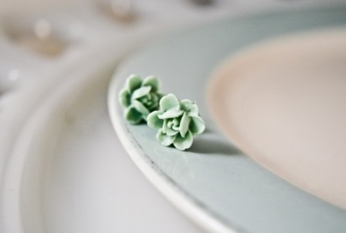 small mint fabric blooms can be used for boutonnieres, for wedding decor of various kinds