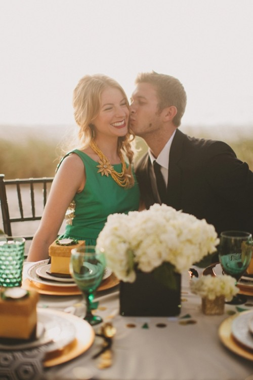 an emerald wedding dress with a sequined back and layered necklaces for a non-traditional bride