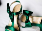 emerald bow heels look very elegant and chic and will help you incorporate this color into your bridal look