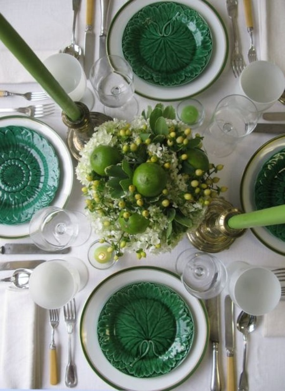 emerald botanical plates and emerald candles to spruce up a neutral tablescape