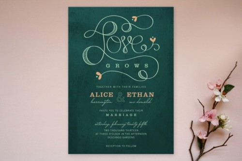 emerald and white wedding stationery with calligraphy
